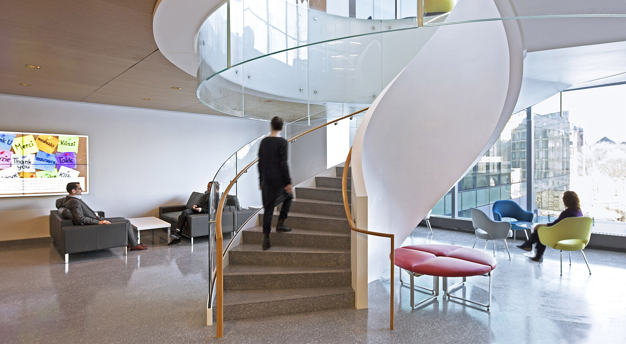 Elegantly curved staircase